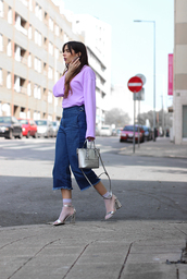 pants,tumblr,top,blue jeans,culottes,denim culottes,cropped jeans,sandals,sandal heels,high heel sandals,socks,fishnet socks,lilac,bag,metallic,metallic shoes,spring outfits