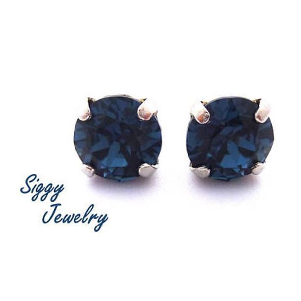 jewels siggy jewelry earrings blue navy studs post earrings swarovski sparkle bling fashion style etsy bridesmaid