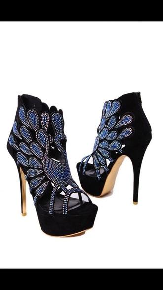 shoes heels black heels black and blue heels sparkle boots sparkles high heels pumps stilletoes