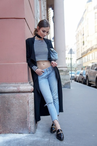 venka vision blogger top jeans shoes coat bag striped top crop tops black coat long coat choker necklace black choker ripped jeans black flats