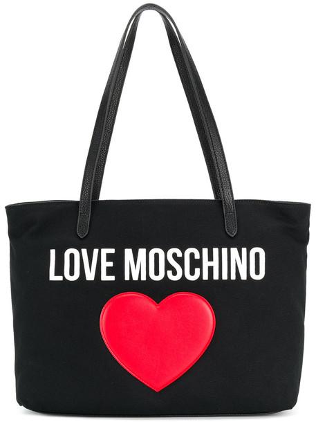 Love Moschino - heart embellished logo tote - women - Cotton/Polyurethane - One Size, Black, Cotton/Polyurethane