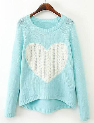 sweater blue white heart warm cozy winter outfits