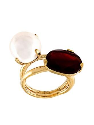 pearl ring red metallic jewels