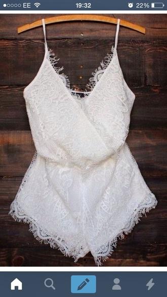 jumpsuit white lace summer cream floral