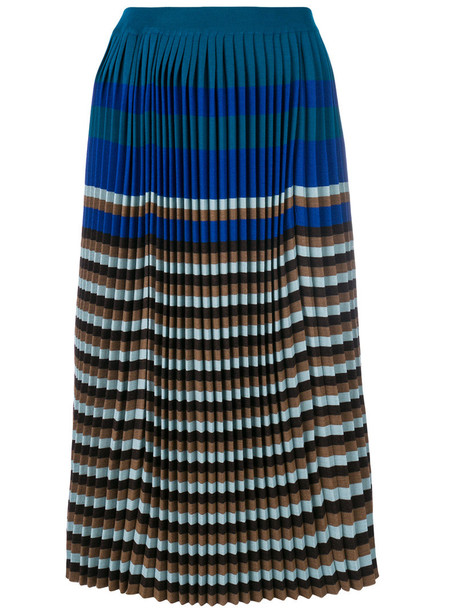 skirt midi skirt pleated women midi blue wool