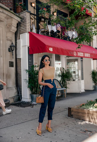 pants tumblr blue pants cropped pants top nude top crop tops bag sandals mules shoes