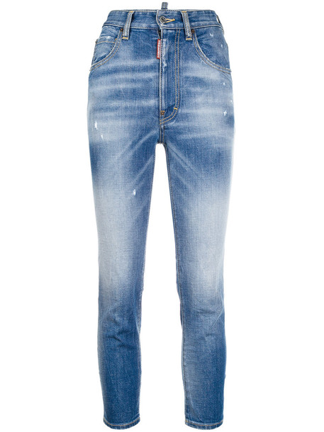 Dsquared2 jeans high women spandex cotton blue