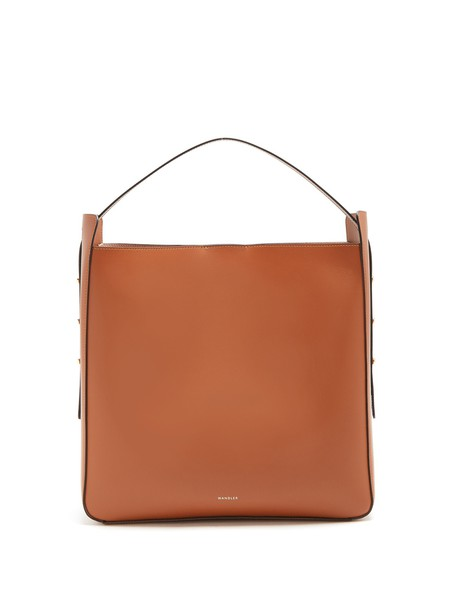 open leather tan bag