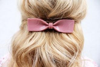 hair accessories hair bow bows dusty pink blonde hair hair/makeup inspo