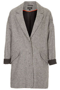 TOPSHOP BLACK AND WHITE BOYFRIEND COAT - Size 10 - Eleanor Calder, Kate Bosworth | eBay