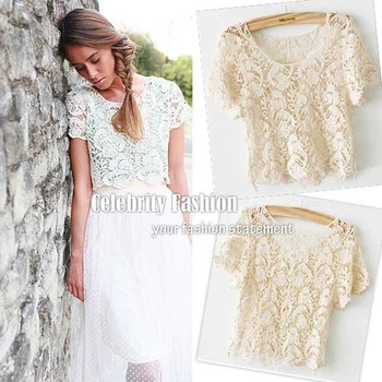 Fashion Women 2014 Clothes Women's Bohemian Vintage Lace Floral Crop Tees Tops T Shirt Shirts Cropped Tops For Women Blusas-in T-Shirts from Apparel & Accessories on Aliexpress.com