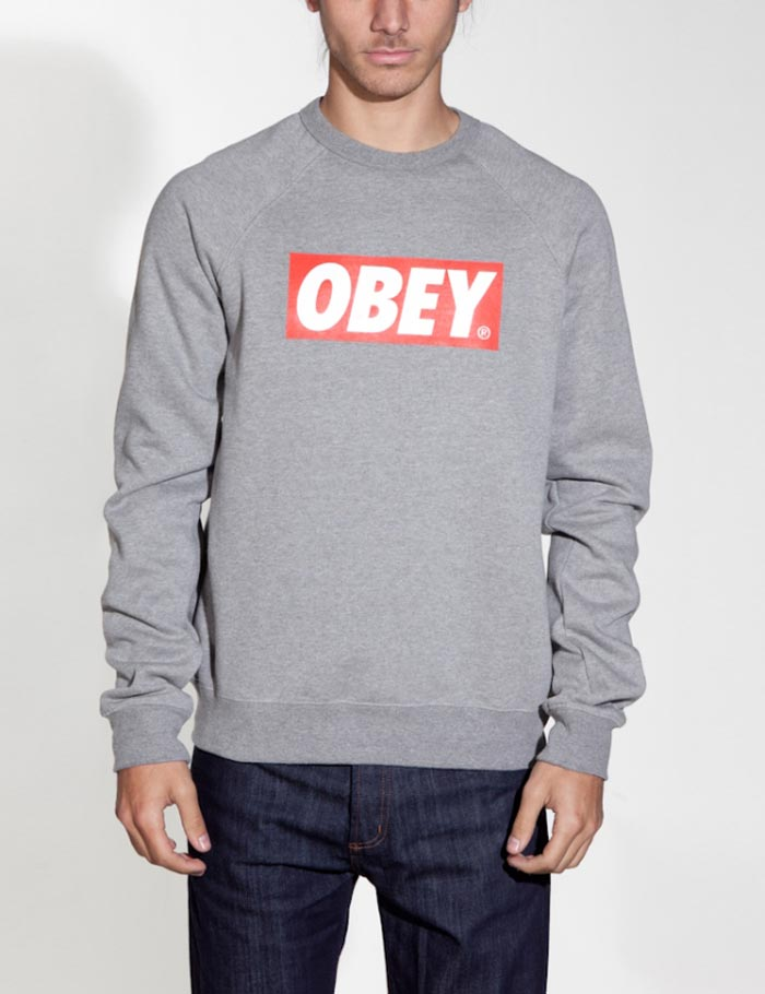 Obey The Box Crew Neck Sweatshirt - Heather Grey