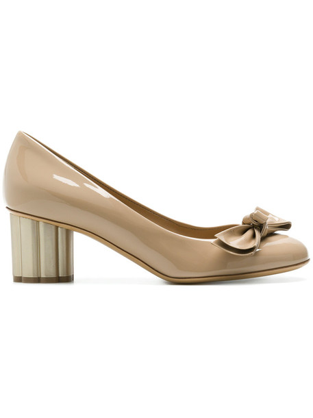 Salvatore Ferragamo heel women pumps leather nude shoes