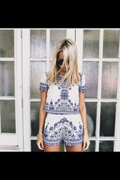 romper,blue and white,twin-set,set