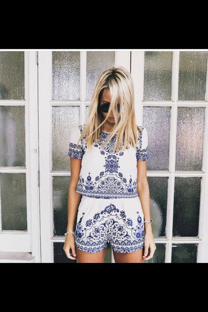 romper blue and white twin-set set