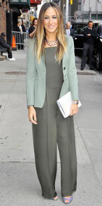 jeans jumpsuit sarah jessica parker olive green jacket blazer