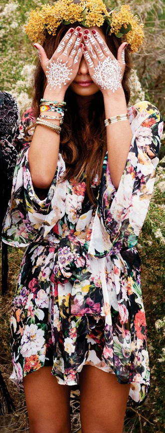 dress boho flowers hippie gypsy coat jewels jacket black bohemian dress floral romper pink and black and white floral kimono jumpsuit floral dress boho dress summer dress headpiece temporary tattoo