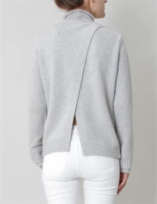 sweater grey open back fine knit jumper grey sweater