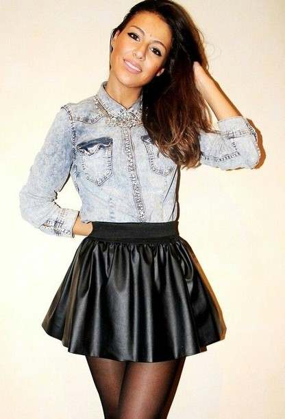 Denim Skirt And Blouse 26