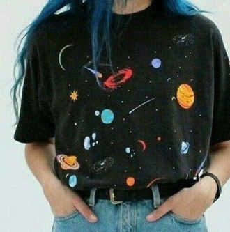 skirt black t-shirt space shirt black tumblr aesthetic black shirt outer space planets galaxy print 90s style 80s style 70s style