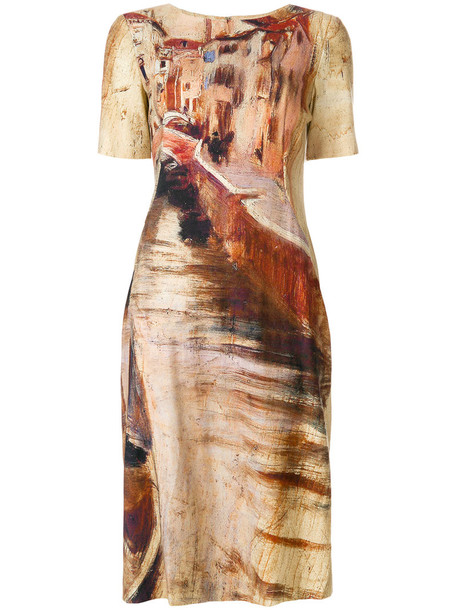 Alberta Ferretti dress print dress women painting nude print