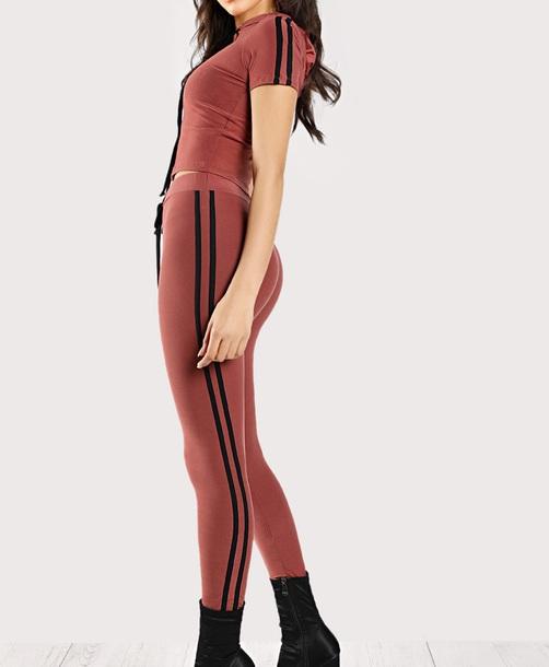 pants girly two-piece matching set stripes black crop tops crop cropped leggings