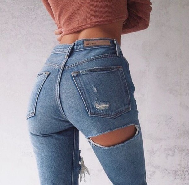 jeans ripped jeans denim high waisted jeans slit butt rips skinny jeans  cut-out butt - Jeans: Ripped Jeans, Denim, High Waisted Jeans, Slit, Butt, Rips