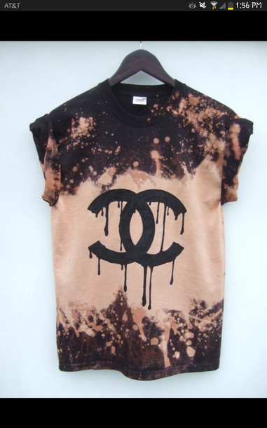 T-shirt: tie dye, black, bleached, chanel - Wheretoget