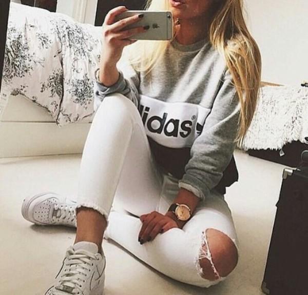 Sweater Black Grey White Adidas Wheretoget