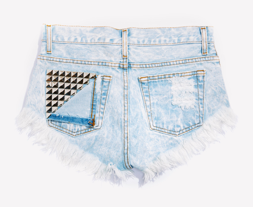 Jett Stoner Frayed Studded Babe Shorts | RUNWAYDREAMZ