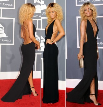 dress rihanna black dress red carpet maxidress with splits jeans jewels make-up