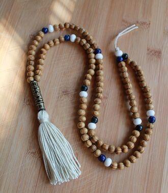 jewels tassel necklace mala necklace boho nacklace beige fashion women summer wooden beads