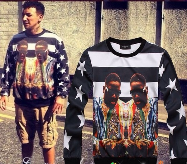 sweater t-shirt biggie smalls crewneck colorful menswear