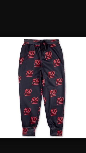 pants black emoji pants emoji print joggers