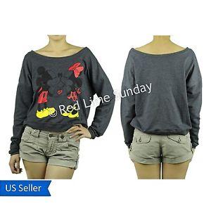 Disney Mickey Minnie Mouse Love Gray Print Sweatshirt Pullover Sweater S M L XL