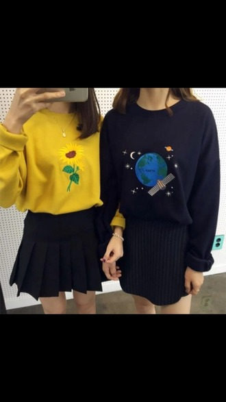 shirt yellow blue earth flowers 90s style