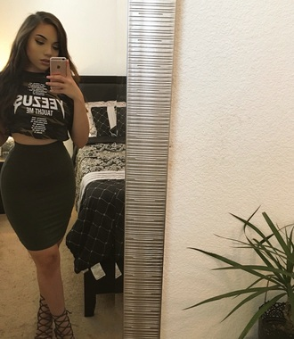 shirt olive green kanye west yeezy tumblr tumblr outfit black heels bodycon skirt skirt tumblr girl crop tops