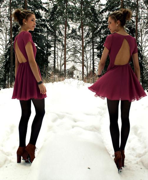 dress dress vintage fashion vibe open back backless burgundy dress burgundy cute dress