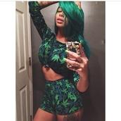 shorts,weed,top,blue,navy,green,weed shirt,crop tops,shirt