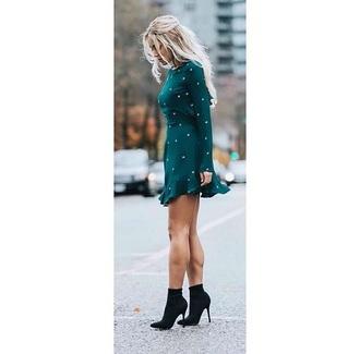 dress embellished dress emerald green long sleeves velvet