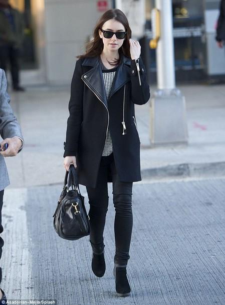 coat jacket leather jacket leather coat black coat faux leather coat lily collins
