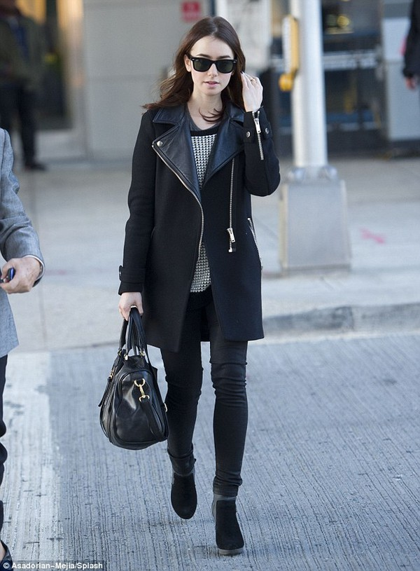 coat jacket leather jacket leather coat black coat faux leather coat lily collins