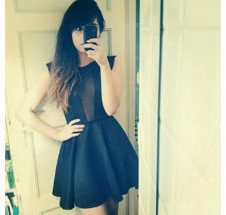 dress clothes black dress transparent transparent dress noir black sheer panel
