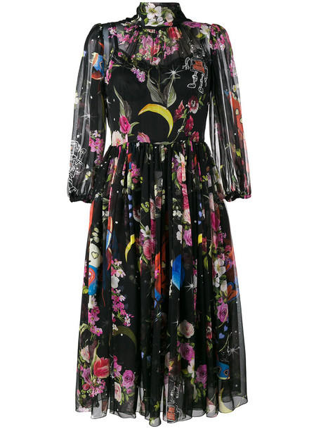 Dolce & Gabbana dress sheer space women spandex cotton print black silk
