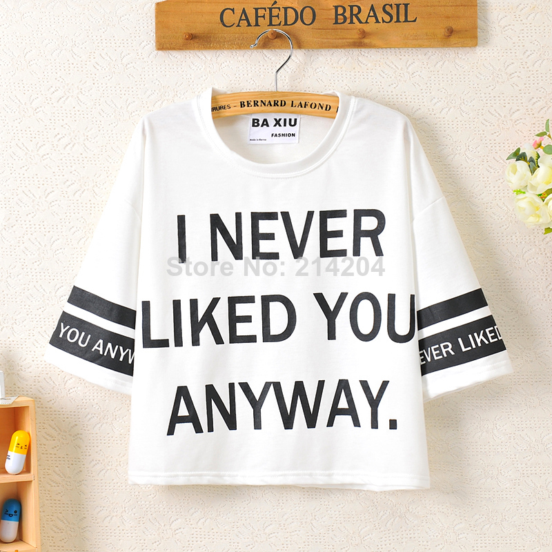 I Never Liked You Anyway Letters Print Short Cotton T shirts women's summer loose strips navy stylish Tee Harajuku Korean Tops-inT-Shirts from Apparel & Accessories on Aliexpress.com