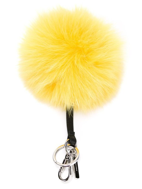 Fendi bag charm fur fox women bag leather black