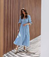 dress,blue dress,long dress,maxi dress,shoes