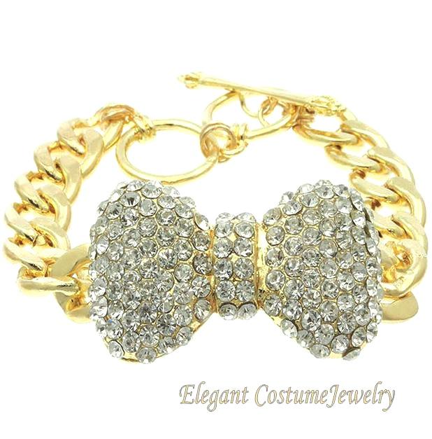 Big wrist chunky crystal bow gold chain link bracelet elegant costume jewelry