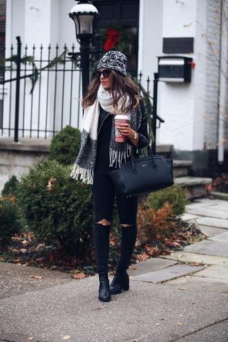 fashionably kay blogger hat jacket jeans shoes bag jewels scarf sunglasses beanie handbag black bag black jeans boots