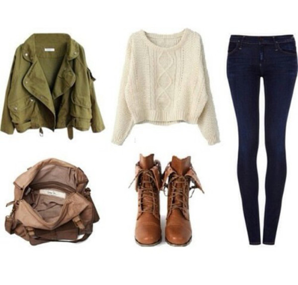 jacket jeans bag blouse